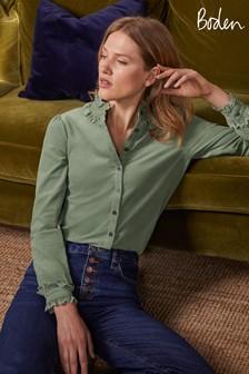 Boden Green Eliza Broderie Shirt