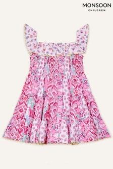 Monsoon Pink Baby Aztec Shirred Frill Dress