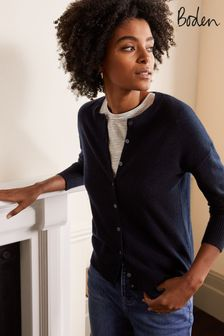 Boden Blue Cashmere Relaxed Cardigan
