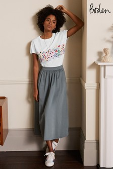 Boden White Lena Embroidered Jersey Tee