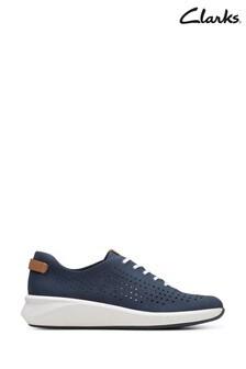 Clarks Navy Nubuck Un Rio Tie Shoes