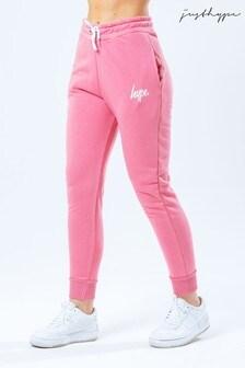 Hype. Womens Pink/White Script Lightweight Joggers