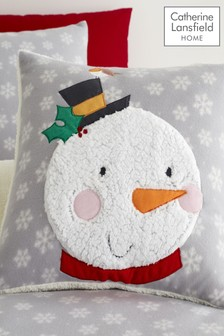 Catherine Lansfield Grey Cosy Snowman Christmas Cushion