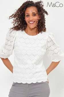 M&Co White Broderie Scallop Shell Top
