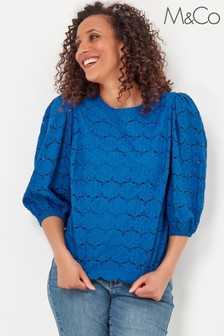 M&Co Blue Broderie Scallop Shell Top