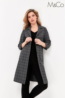 M&Co Grey Check Duster Coat