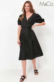 M&Co Black Puff Sleeve Spot Midi Dress