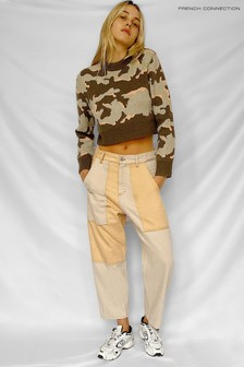 French Connection Green Kylah Camo Long Sleeve Crew Neck Jumper