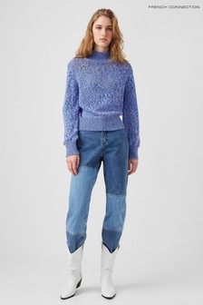 French Connection Blue Lora Knits Mock Neck Jumper