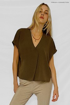 French Connection Green Crepe Light S/S V-Neck Top