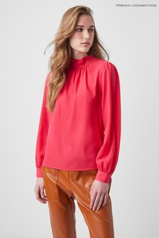 French Connection Pink Arina Solid Button Neck Top