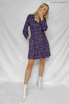 French Connection Purple Bethanie Meadow Jersey Shirt Dress