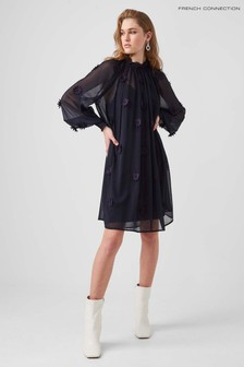 French Connection Blue Aziza Lace Long-Sleeve High-Neck Dress