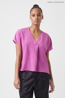 French Connection Purple Crepe Light V-Neck Short Sleeve Top