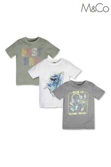 M&Co Green Slogan T-Shirts 3 Pack