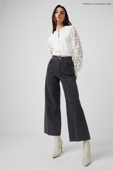 French Connection Black Piper Organic Denim Wide-Leg Jeans