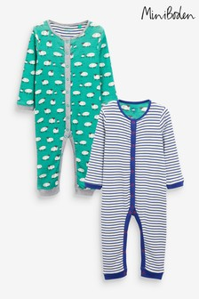 Boden Green Sheep Rompers 2 Pack