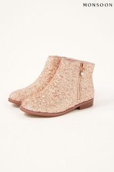 Monsoon Gold Side Zip Glitter Boots