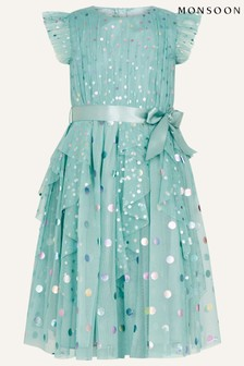 Monsoon Teal Rainbow Spot Print Frill Dress