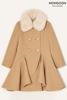Monsoon Camel Twirl Skirted Coat