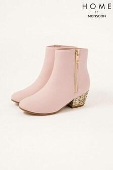 Monsoon Pink Glitter Heel Boots