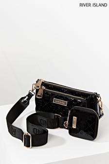 River Island Black Patent Embossed Double Pouchette Bag