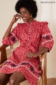 Monsoon Red Davina Printed Frill Jersey Dress