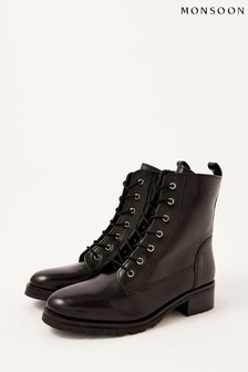 Monsoon Black Letty Leather Lace-Up Biker Boots