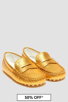 Tods Girls Gold Loafers