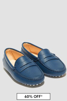 Tods Boys Navy Loafers