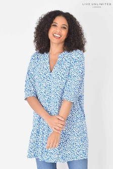 Live Unlimited Curve Blue Ditsy Print Tunic