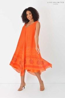 Live Unlimited Curve Orange Print Hanky Hem Dress