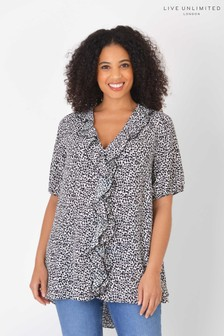 Live Unlimited Curve Sustainable Animal Print Ruffle Top
