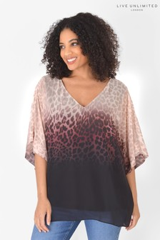 Live Unlimited Curve Recycled Polyester Animal Ombre Blouse