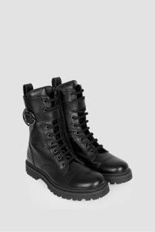 Moncler Enfant Girls Black Carinne Ankle Boots