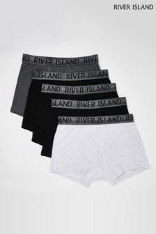 River Island Metallic Silver Waistband Trunks 5 Pack