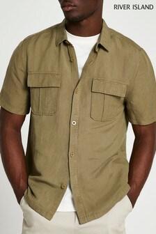 River Island Khaki Short Sleeve Utility Linen Shirt