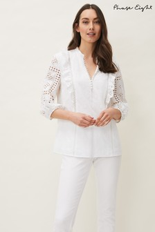 Phase Eight White Willa Broderie Blouse