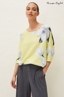 Phase Eight Yellow Fenia Floral Fine Knit Jumper