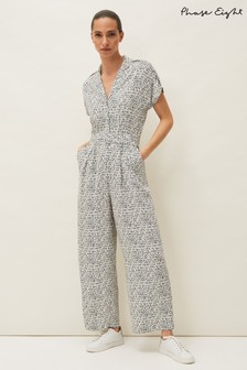 Phase Eight Blue Paige Abstract Print Jumpsuit