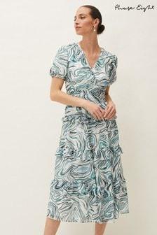 Phase Eight Blue Iona Swirls Print Dress