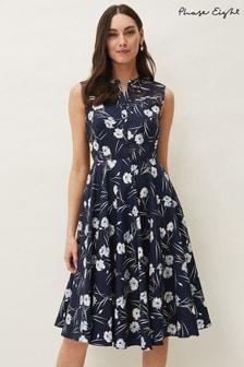 Phase Eight Blue Neha Floral Print Dress