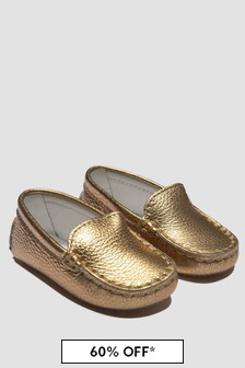 Tods Baby Girls Gold Loafers