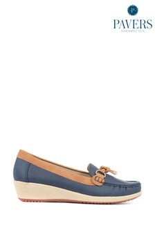 Pavers Ladies Navy Moccasin Loafers