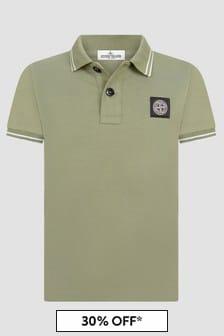 Stone Island Junior Boys Khaki Polo Shirt