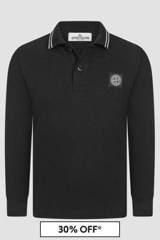 Stone Island Junior Boys Black Polo Shirt