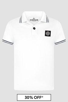 Stone Island Junior Boys White Polo Shirt
