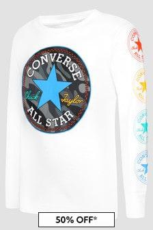 Converse Boys White Sweat Top