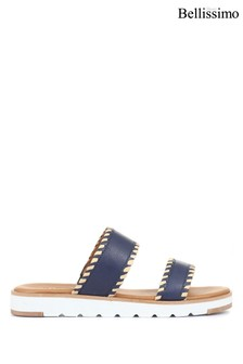 Bellissimo Ladies Leather Slider Mule Sandals