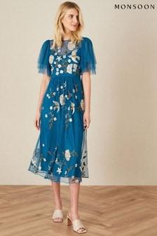 Monsoon Blue Bailee Embroidered Bird Dress